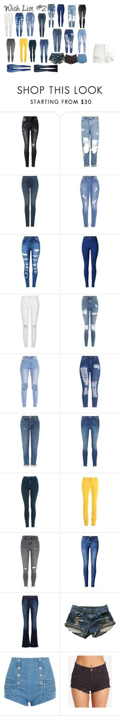 """""""Wish List #2"""" by peytondodson on Polyvore featuring Topshop, NYDJ, WithChic, River Island, 3x1, Love Moschino, 7 For All Mankind, Levi's, Pierre Balmain and Billabong"""