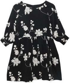 Embroidered Button-Cuff Angel Dress Black