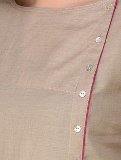 Beige Handloom Silk Twill Kurta by Jaypore Churidhar Neck Designs, Chudidhar Designs, Neck Designs For Suits, Neckline Designs, Dress Neck Designs, Bridal Blouse Designs, Simple Kurta Designs, Stylish Dress Designs, Kurta Designs Women