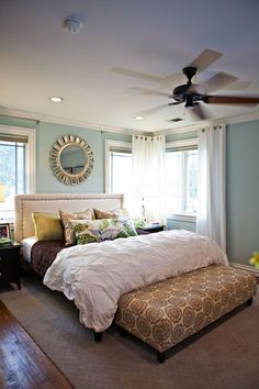 Headboard and upholstered bench for end of bed......floor to ceiling curtains....LOVE sherwin williams rainwashed  Love this color palette