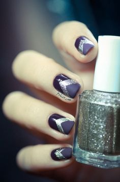 purple and gold chevron nails. O Spa Kelowna, En Vogue Gel Nails and Lac Sensation Manicures