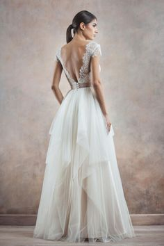 Really pretty for bridesmaids.or if it was fuller and longer for the bride Well Dressed: Poetica by Divine Atelier Low Back Wedding Gowns, Backless Wedding, Mod Wedding, One Shoulder Wedding Dress, Dream Wedding, Wedding Dresses, Lace Wedding, Backless Gown, Divine Atelier