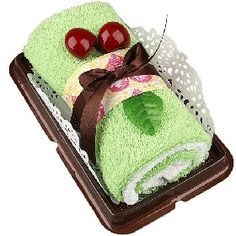Cherry Accented Long Swiss Roll Dessert Pastry Shaped Packaged Towel