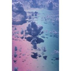 Special Effect PinkBlue Sky White Puffy Cumulus Clouds View From Above A35D Canvas Art - Allan Seiden Design Pics (24 x 38)