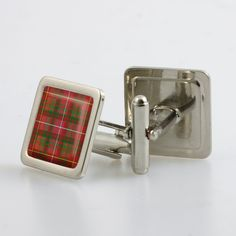 Steel cufflinks set with resin domed tartan - only from ScotClans