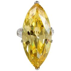 Preowned The Jackie O Faux Canary Yellow Marquise Diamond Ring Copy ($2,400) ❤ liked on Polyvore featuring jewelry, rings, cocktail rings, yellow, yellow ring, fake rings, pre owned diamond rings, fake diamond rings and pre owned rings