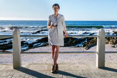 Linen Shirt Dress. Borrowed from the boys and modified into the ultimate feminine creation. For functionality we added inseam pockets and adorned the neckline with some charming buttons. The dress has three quarter sleeves you can roll up in the summer or wear down on those colder days paired up with tights. Linen clothing. Natural fiber. Casual wear. Camps Bay. Cape Town. Fashion Gem. Natural high. All a girl wants. Timeless Classic. Linen Shirt Dress, Cold Day, Timeless Classic, Camps, Out Of Style, Cape Town, Clothing Items, Casual Wear, Going Out
