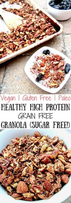 Healthy High Protein Gluten Free Granola Sugar Free Healthy High Protein Grain Free Granola recipe delicious homemade sugar free grain free and versatile granola for any diet with 5 grams of protein in 1 4 cup Vegan gluten free paleo Gluten Free Granola, Grain Free Granola, Vegan Gluten Free, Gluten Free Recipes, Low Carb Recipes, High Protein Granola Recipe, Diet Recipes, Paleo Vegan, Dairy Free