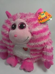 Ty Monstaz ROXY Plush Monster Round Stuffed Animal Pink Stripes Sounds Kisses  #Ty