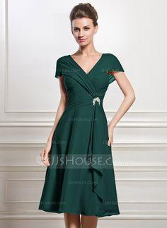 A-Line/Princess V-neck Knee-Length Chiffon Mother of the Bride Dress With Beading Sequins Cascading Ruffles (008056884)