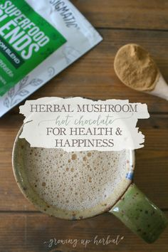 Herbal Mushroom Hot Chocolate For Health & Happiness | Growing Up Herbal | I'm sharing one of my favorite recipes for herbal mushroom hot chocolate as well as some of the health benefits of cacao and mushrooms. Here's to enjoying the last days of winter, and don't forget to pin this post to your Pinterest boards!