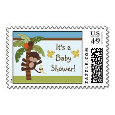 Personalized Curly Tails Monkey Stamps/Postage