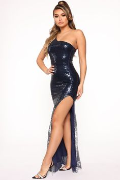 To Shining Sea Sequin Maxi Dress - Navy/Silver – Fashion Nova Sequin Maxi, Cheap Prom Dresses, Long Dresses, Party Dresses, Formal Dresses, Metallic Dress, Hot Dress, Classy Dress, Fashion Dresses