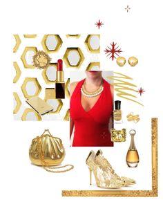 """""""Navidad"""" by anapippia on Polyvore featuring moda, Essie, Gucci, Oscar de la Renta, Goldgenie, Stila, Deborah Lippmann, Carelle, Sevil Designs y Chanel"""