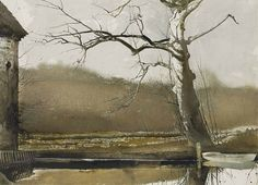 Andrew Wyeth (1917 — 2009, USA) Flat Boat. 1988 watercolor, drybrush and pencil on paper. 22¼ x 29¼ in. (56.5 x 74.3 cm.)