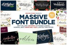 If you don't already have these superb fonts, you better take advantage of this $25 bundle!!  |  94% OFF - Massive Font Bundle by Seniors on @creativemarket