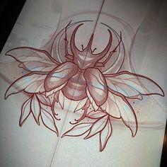 Shiva Tattoo Design, Tattoo Design Drawings, Tattoo Sketches, Beetle Tattoo, Neo Tattoo, Insect Tattoo, Traditional Tattoo Design, Doodle Tattoo, Tattoo Stencils