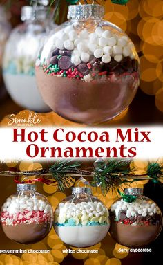 DIY Hot Cocoa Mix Ornaments are an easy DIY gift idea for the holidays. Make the… DIY Hot Cocoa Mix Ornaments are an easy DIY gift idea for the holidays. Make them variety of ways and give them away to all your friends for Christmas! Christmas Goodies, Christmas Baking, Christmas Fun, Chritmas Diy, Christmas Candy Crafts, Thanksgiving Crafts, Christmas Activities, Christmas Desserts, Christmas Projects
