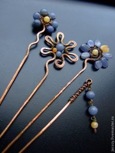 Handmade hair clips.  Fair Masters - handmade copper studs me-nots.  Handmade.
