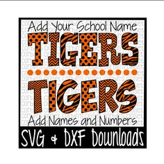 Tigers * Spirit Wear * Spirit Shirt Cutting File - SVG & DXF Files - Silhouette Cameo/Cricut by CorbinsCloset on Etsy
