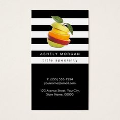Nutritionist Fruits Logo - Black White Stripes Business Card