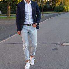 Ensemble décontracté veste bleu marine jean clair pour homme