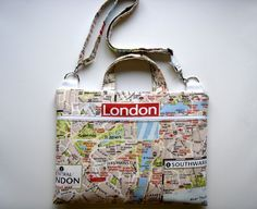13 inch Laptop Bag All-in-One London Map Handmade by Babimini, €43.00