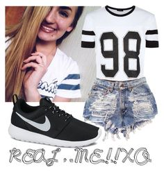 """Real me.XO"" by laurateplo ❤ liked on Polyvore featuring NIKE, women's clothing, women's fashion, women, female, woman, misses and juniors"