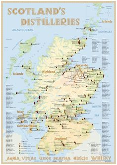 Mapa skotských palíren - Maps of Scotland's  Distilleries