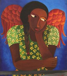 Born and bred in Brooklyn, New York, Laura James is a self-taught painter of Antiguan heritage. Working as a professional artist and illu. African American Artist, American Artists, Encouraging Images, Laura James, Hispanic Art, Saints, Mermaid Fairy, I Believe In Angels, Black Angels
