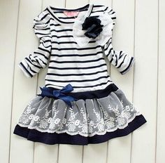 Blue and White Striped Full Sleeves Girls Dress / Frock from Urban Buy