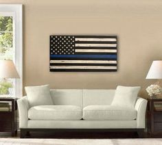 Large American Flag The Thin Blue Line by DownHomeFrills on Etsy