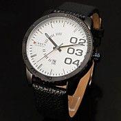 Menn Auto-Date Hvit Dial Black Leather Band Q... – NOK kr. 157