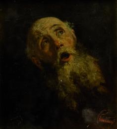 MARIANO FORTUNY, Cabeza de anciano, Óleo sobre lienzo, 17 x 15,5 cm.
