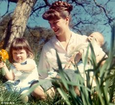 sylvia plath, frieda & nicolas picking daffodils in devon, this picture inspired ted hughes to write perfect light in birthday letters