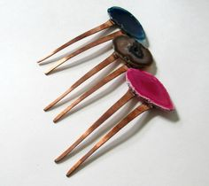 Agate Slice & Vintage Copper Hair Stick.. Natural Stone Hair Pin, Bohemian Wedding Jewelry