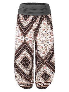 BAISHENGGT - Femme Pantalon bouffant large bande Imprime Taille haute  Stretch Losange-Noir L 9748a6292a3
