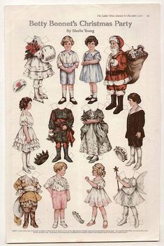 """§§§ : Betty Bonnet's Christmas Party ✄ paper dolls : Ladies Home Journal : 1916 : From the article """"Collecting Vintage Christmas Themed Paper Dolls : http://polly-white.suite101.com/collecting-vintage-christmas-themed-paper-dolls-a161912"""