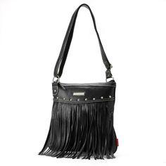 Unionbay Studded Fringe Cross-Body Bag ($27) ❤ liked on Polyvore