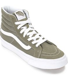 A slimmer sk8-hi made for the ladies of Vans! This tonal grapeleaf olive colorway features a suede and canvas upper, vulcanized outsole for cruising on your board, and the classic Vans Waffle tread for grip. Pair these beauties with some black distressed