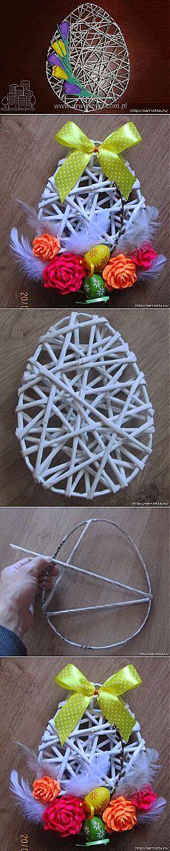 Декоративные панно в форме пасхального яйца из газетных трубочек | Самоделкино