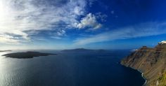 Santorini in every shades of blue Santorini, Shades Of Blue, Travel Destinations, Mountains, Water, Outdoor, Water Water, Aqua, Outdoors