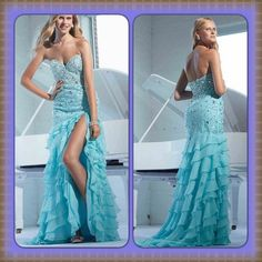Aqua strapless formal prom/homecoming P1572 with sweetheart neckline in front low back covered with beads and jewels down to drop waist ruffled chiffon layered skirt with thigh high slit on left side Terani Couture Dresses Strapless