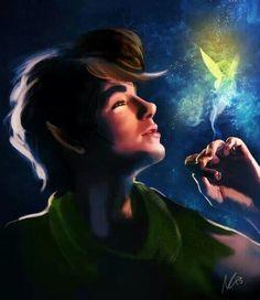 Peter pan and tinkerbell Disney fan art (looks sorta like Andrew Garfield...)  #ldisneyart #disney