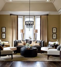 New Living Room Layout Bay Window Furniture Placement Color Schemes 31 Ideas Elegant Living Room, New Living Room, Formal Living Rooms, Small Living Rooms, Living Room With Bay Window, Cozy Living, Living Room Furniture Layout, Living Room Interior, Living Room Designs