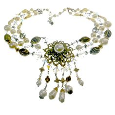 Multi Strand Statement Necklace Pearl Crystal by EclecticVintager