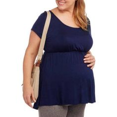 Due Time Maternity Plus-Size Short Sleeve Babydoll Top, Size: 2XL, Blue