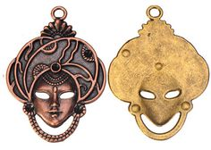 Zinc Alloy Human Face Pendants,Rhinestones Setting,Plated,Cadmium And Lead Free,Various Color For Choice,Approx 61*43.5*3mm,Hole:Approx 4mm,Sold By Bags,No 003335