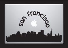 San Francisco Skyline Macbook Decal With Writing / Macbook Sticker / Laptop Sticker - 2