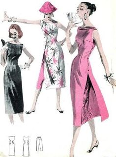 1950s Dress Pattern Butterick 7790 Womens Cheongsam Dress Evening Gown Cheongsam Tunic and Cropped Pants Vintage Sewing Pattern Bust 34 via Etsy by reva